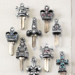 Couture Keys by Keys to My Castle®. Silvertone with an antique finish. Only available in Schlage keys. At Neiman Marcus