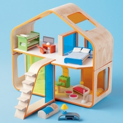Those Who Live In Dollhouses (Better Be Small) - gorgeous modern dollhouse ~ the sleek curved woods and the adorable furniture make me wish i were a kid...