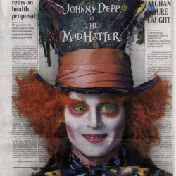On  the day of the release of Alice In Wonderland, Disney took over the Los Angeles Times with a 3D image of  the Mad Hatter on a faux homepage wrap (the real LA times cover page was beneath it).