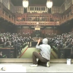 A great video giving a first look at the upcoming works of Banksy for his Bristol museum show.