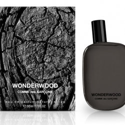 A first look at the beautiful design and packaging of Wonderwood, the new fragrance by Comme des Garcons.