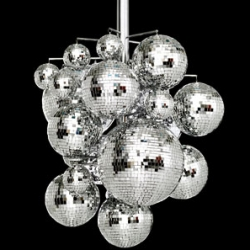Another trippy chandelier - Konfetti Chandelier from Bsweden - Chandelier of disco balls in several sizes. Body in polished chrome, halogen lighting.