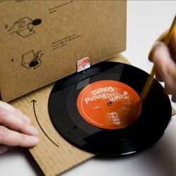 The GGRP cardboard record player was sent out to creative directors around the country. With a simple unfolding and the help of a pencil the enclosed 45 actually plays.