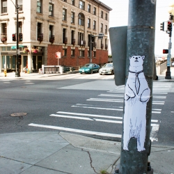 Polar Bears wearing ties found in downtown Seattle.  Artwork by street artist Karl Addison