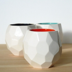Faceted low-res designed ceramic tableware from young Dutch designer Sander Lorier.