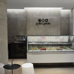 Polka Gelato, by branding firm Vonsung, is an ultra chic and minimalist space in London that offers a special gelato experience.