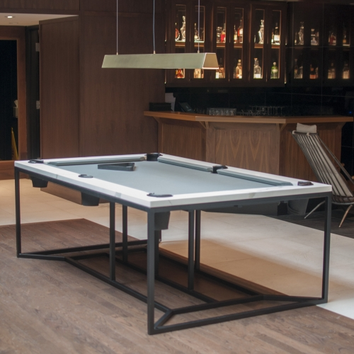 HWG Pool Table - Custom designed marble pool table for the William Gray boutique hotel in Montreal. Designed by Daniel Finkelstein this unique table features a stainless steel welded structure finished in a matte black powder coat and Calacatta marble rails.