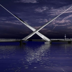The bridge cross as they rise and come to rest in an overlapping composition, mirroring the shape of racing yachts passing through the bridge. It becomes a sculptural piece.