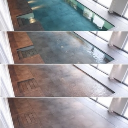 Hydrofloors are vertically moving floors installed in an indoor or outdoor swimming pool that can be raised to different levels and even turn the surface of the pool into a usable floor. See the video of it in action!