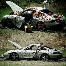 The group, Commonwealth Second Amendment (Comm2A), pumped this Porsche 911 with close to 10,000 bullets during an event dedicated to protecting gun rights.