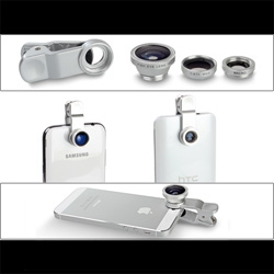 Portable Clip-On Mobile Phone Camera Lens (Wide Angle + Marco + Fisheye Lens)