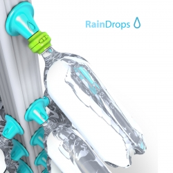Rain water collection concept.  The rain water will store in many standard plastic bottles, you can use it water your garden or washing your hands!