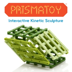 The Prismatoy is an interactive kinetic sculpture based on the form of a geometric solid called the Parallelepiped.  Consisting of 72 individual jointed parts, the Prismatoy is fun to explore and hard to put down.