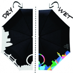 London Skyline Umbrella. This foldable black and white London Skyline Squidarella bursts into an array of colors, as soon as rain hits the panels! Brightens up any wet day. By SquidLondon.