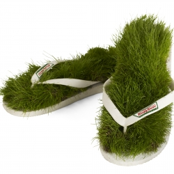 World's first grass flip flops designed by doughnut maker Krispy Kreme to relax city workers by giving them their own mini-park to walk around in [see the news section]