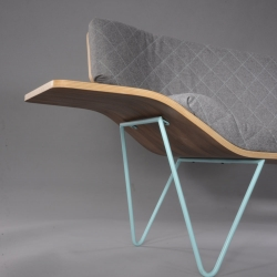 Ames Seat, a sofa with wood and steel, created by Ben Pedrick a young design student.