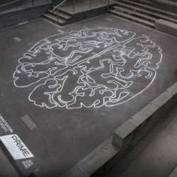 DRAFTFCB, Auckland created this stencil for Prime TV show - Psychic Investigators. It illustrates the psychic ability to discover crimes that have been committed by using their mind and nothing else.
