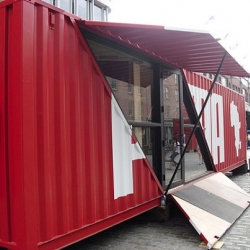 In honor of the World Cup, Puma has set up shop at South Street Seaport in lower Manhattan with a shipping container installation designed by LOT-EK!