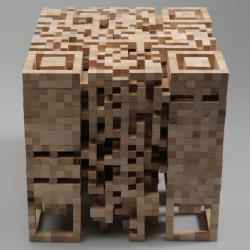 What happens when a two dimensional QR-code is transformed into a three-dimensional structure? This is the question that German designer Elena Belmann asked herself before she created this wooden QR stool.