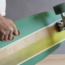 Quartertwenty - Portland, OR made skateboards are created with baltic birch and recycled formica; cold pressed and waterjet cut with an ergonomic 3 finger handhold.