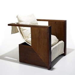 Marmol Radzinger's 'R.M. Schindler' lounge chair (cedar + canvas). Available at Wright 21.