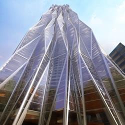 R432, in Mexico City. Skyscraper designed by mexican studio Rojkind Arquitectos