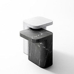Sculpted from solid marble, Petra is the perfect illustration of raw material design. These small and unusual tables, which can be used alone or in pairs, provide a focal point that blend into the most varied surroundings.