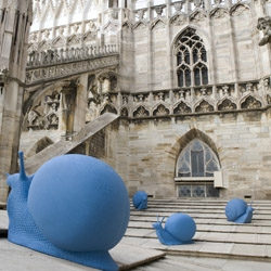Cracking Art Group's giant blue snails invaded the roof of il Duomo in Milan earlier this month as part of a call to action to raise money for the restoration of the cathedral.