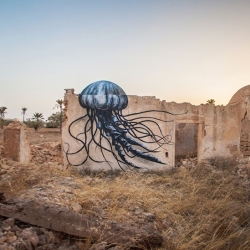 ROA recently stopped by North Africa to paint for the Djerbahood project in Djerba, Tunisia.