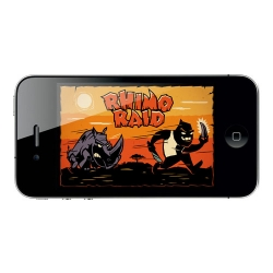 Rhino Raid is a free iOS game for good. Help Rad the Rhino stomp poachers, save his lady, and learn the real facts about the rhino situation in South Africa. Produced by Flint Sky and WWF South Africa. Developed by Tasty Poison with artworks by Kronk.