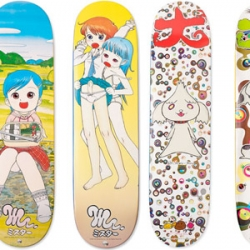 New York skateboard brand Supreme announced a collaboration with Japanese high-profile artists Murakami and Mr. Each artist designed 3 skateboard decks and they will be released this coming Thursday. I cannot wait!