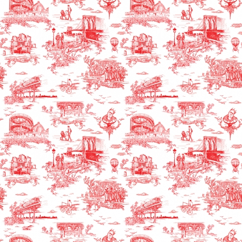 Mike Diamond of the Beastie Boys wanted a Brooklyn-inspired toile wallpaper to line the walls of his Cobble Hill brownstone. He approached Revolver New York to execute his vision artistically and Flavor Paper to produce the design as wallpaper.