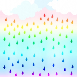 8x10 art print featuring bright rain clouds that shower down beautiful rainbow raindrops.