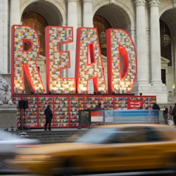 Created from 25,000 classic Dr. Seuss books, this sculpture in front of the New York Public Library is part of Target and the National Education Association's Read Across America campaign.