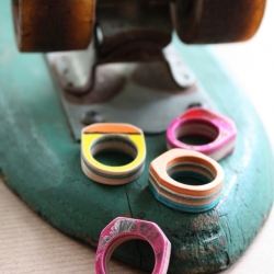 Seven Ply goes green by recycling old, broken, beat-up skate decks. A perfect way to improve your earth while rocking a one of a kind piece of jewelry. This recycled skateboard ring has been cut, sanded, sealed and is ready to ride on.