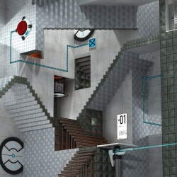What do you get if you take one of MC Escher's famous pictures and add the theme from Portal into the mix.