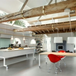 Designed by Maxwan Architects, the barn house  (House G) was renovated the main focus to create large inside space, has kitchen, living room, storage, stairs and the library.