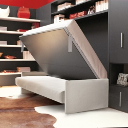 Resource Furniture shows off their space-saving and elegant furniture.