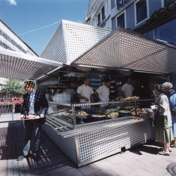 Another unique design from Tham & Videgard Arkitekter, this compact design of a restaurant box is located in Stureplan, Stockholm. It is a restaurant that can be transported using a truck.