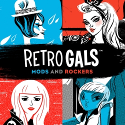 Retro Gals: Mods and Rockers. A brand new poster and t-shirt series featuring pinup art by Anne Benjamin, Babs Tarr, Daniel Krall and Alex Pearson, from Familytree.