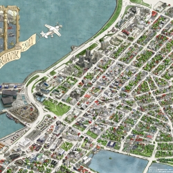 This is a brand new illustrated map of Reykjavík, Iceland.  The map was made by a group of architects and took over two years and 3000 hours to complete.