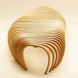 ribs is a v ery appropriately named bent plywood bench by Stefan Lie