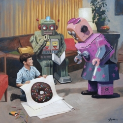 "Eric Joyner's exhibition ""Donut Logic"" replaces human life with metallic robots acting like regular humans. lt runs from August 14th to September 1st."