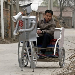 What does it take to build a robot rickshaw from scrap metal heads? Only a Chinese farmer, Wu Yulu knows it, and now the rickshaw heads to Shanghai World Expo.