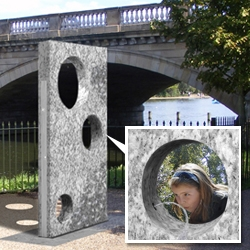 'Watering Holes' fountain by Robin Monotti Graziadei. Winner of the Tiffany Across the Water & Royal Parks Foundation International Competition.  Features circular holes for adult, children/wheelchair and pets' drinking heights.