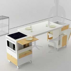 Rubika is the latest kitchen design made by Lodovico Bernardi worked with eusebi furniture. Its kitchen has a minimalist design suitable for small housing conditions and a small apartment.