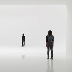 Doug Wheeler's trippy light installation at the David Zwirner Gallery in New York, is the closest thing to floating in a cloud. All sense of depth perception is lost upon entering the space. Very cool.