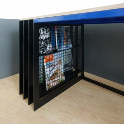 Bookdesk is a combination of desk and bookcase.