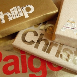 Turn the gift tag into a design element, letter templates make for attractive wrapping.