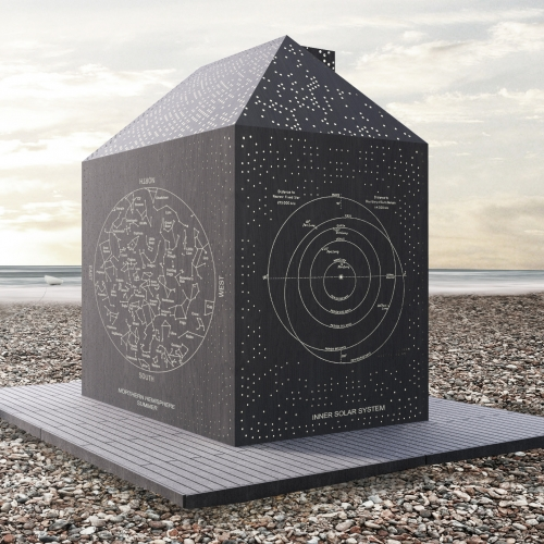 The Stargazer's Cabin re-imagines the traditional British beach hut. It has a back lit laser-cut facade that depicts constellation maps. It will appear on the seafront in Eastbourne later this year.